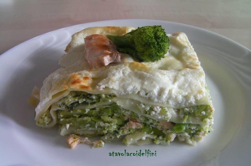 Lasagne al salmone e broccoli con crema di ricotta