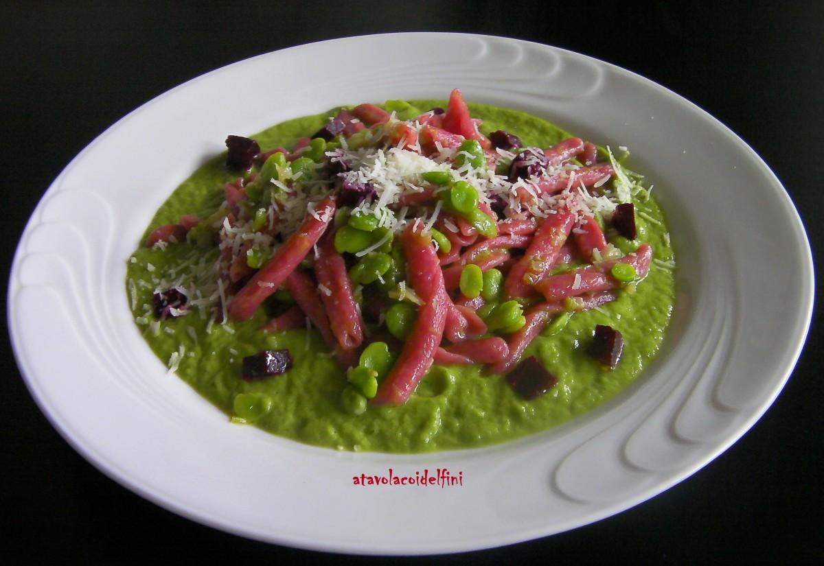 Maccheroni alle barbabietole rosse con sponsali e favette fresche su crema di zucchine e canestrato pugliese