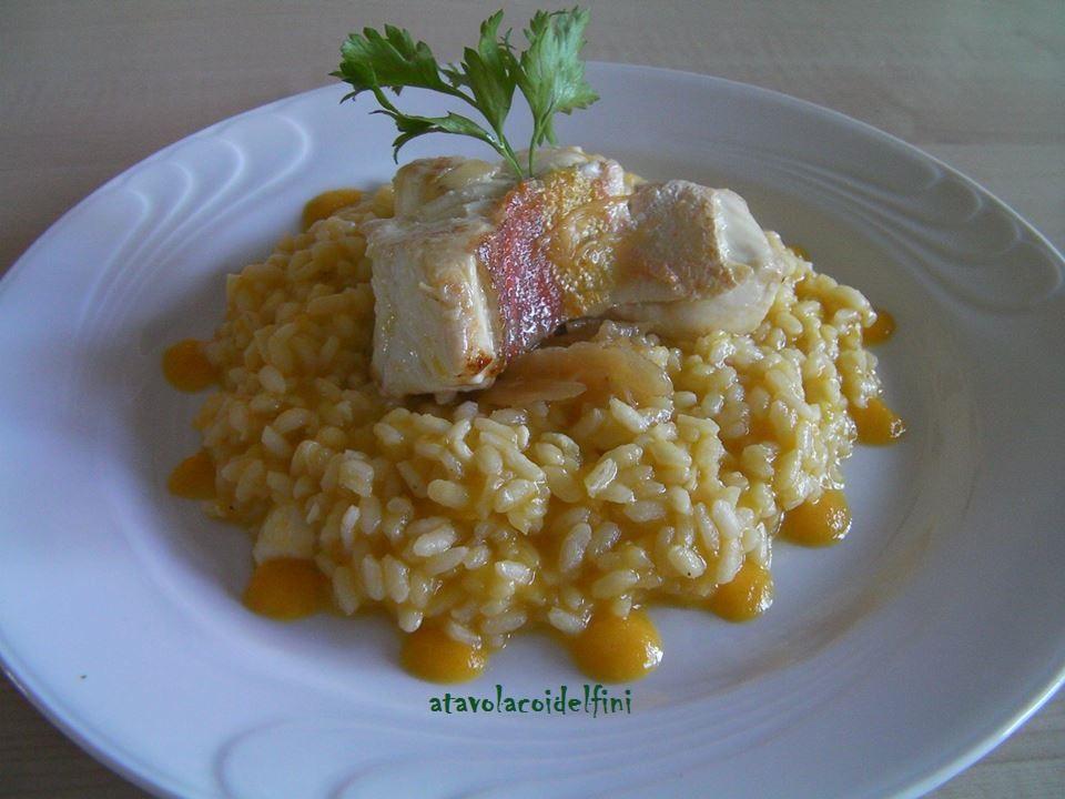 Risotto alla crema di zucca mantovana con filetto di gallinella e cipolla bianca al vino Chardonnay