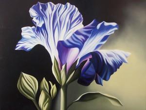 Fiore blu - olio su tela (50x60)