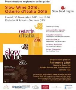 Slow wine e  Osterie d'Italia 2016 Castello di Acaya - Vernole (Le)