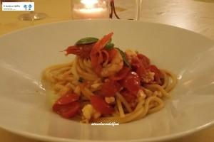 Spaghettone Senatore Cappelli con gambero rosso e basilico