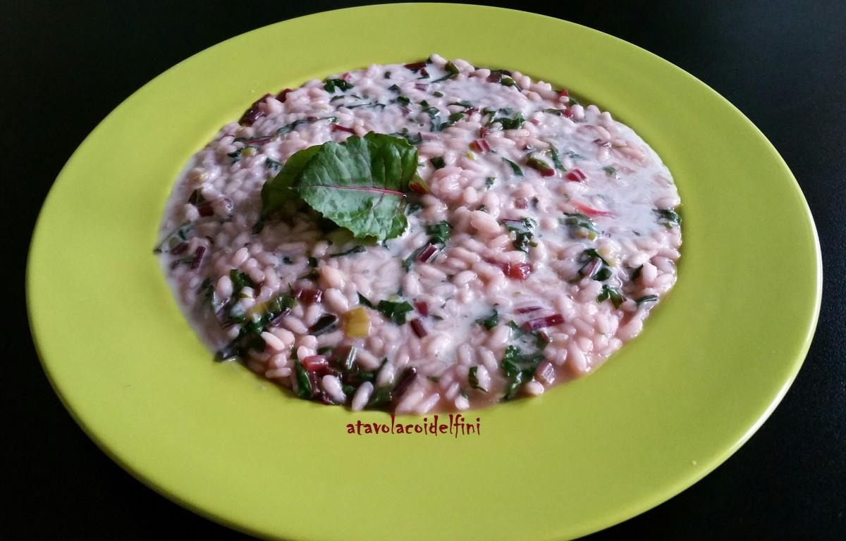 Risotto alle foglie di barbabietola e crema di parmigiano