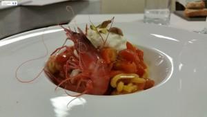 Troccoli con gamberi rossi, stracciatella e pistacchi