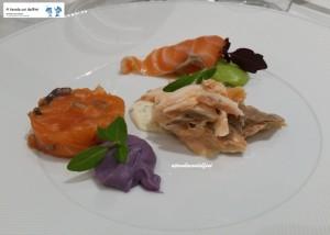 3 consistenze di salmone su 3 creme