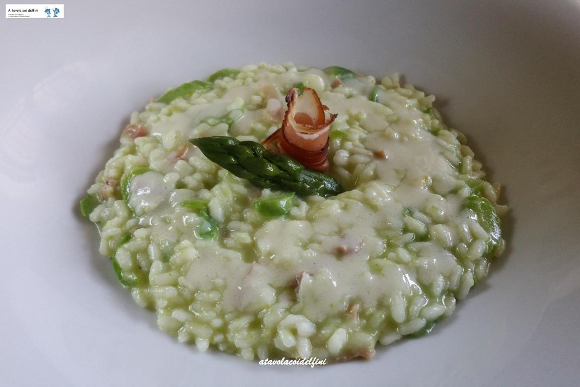 Risotto agli asparagi, crema di parmigiano e speck