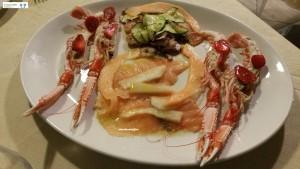Salmone, scampi e polpo