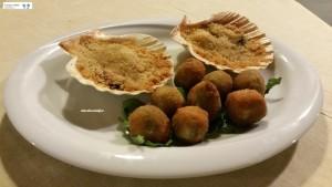 Cappesante gratinate e olive ascolane di pesce