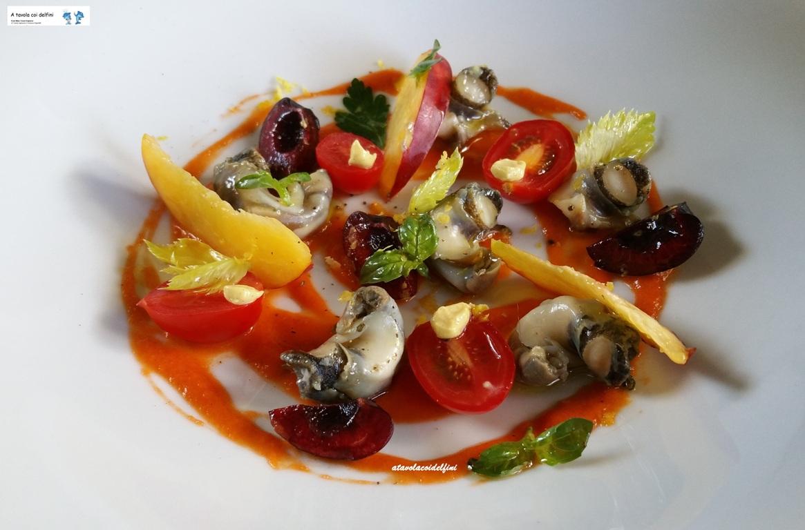 """Murici """"fruttati"""" su emulsione di pomodori fiaschetto senapati"""
