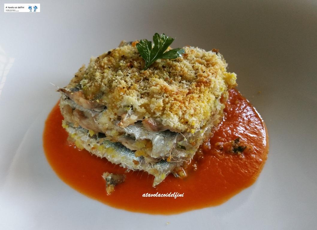 Tortino di alici e pecorino su pomodori San Marzano piccanti