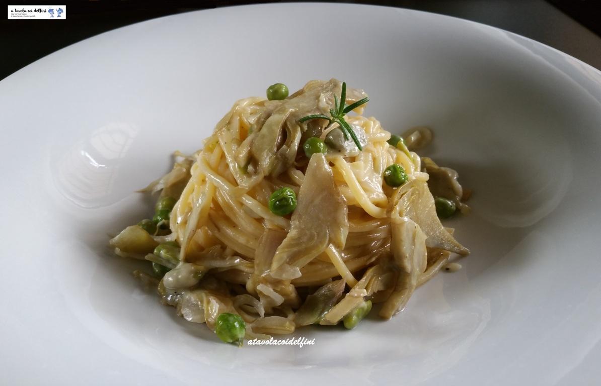 Spaghetti agli ortaggi di primavera e zabaione salato