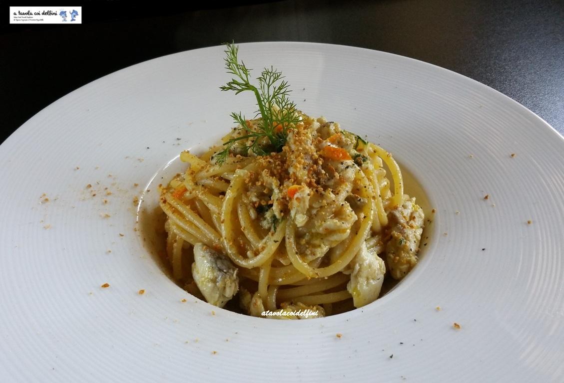 Spaghetti all'arancia con orata, polvere d'arancia e finocchietto