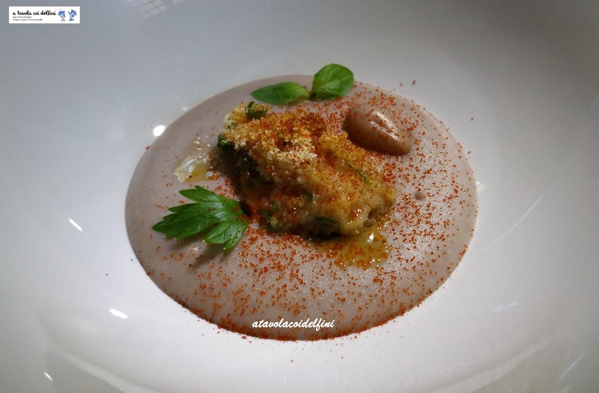 Cozza gratinata su crema di borlotti e paprika affumicata