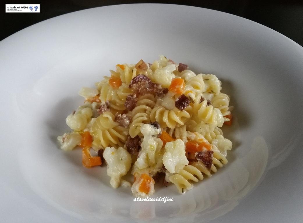 Fusilli, zucca e cavolfiore con crema di latte al parmigiano e Silva del Piave
