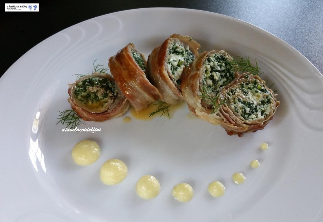 Involtini di manzo, ricotta, spinaci e pancetta con salsa alle mele senapate