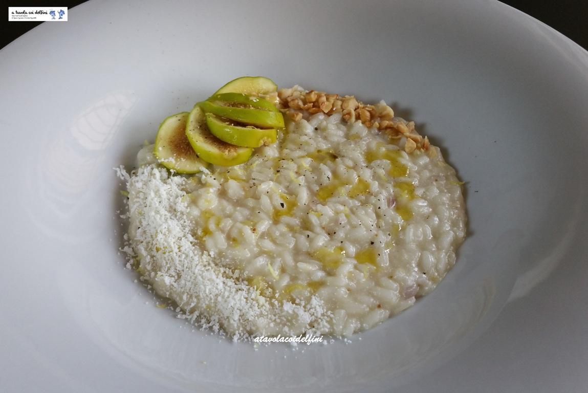 Risotto ai fichi bianchi con cacioricotta, nocciole e buccia di limone