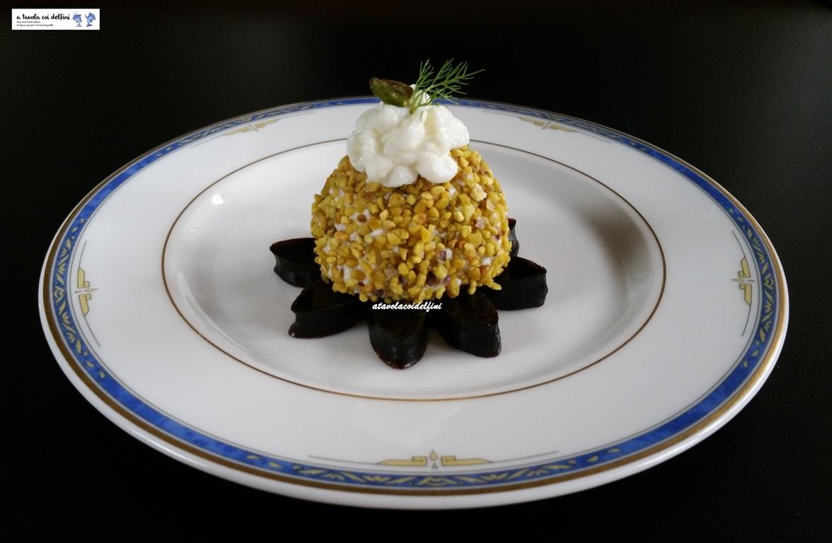 Pon pon di ricotta e pistacchi su gelatina di Plavac Mali