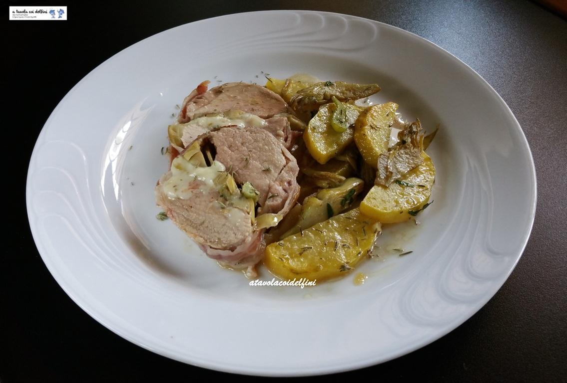 Filetto di maiale ripieno di carciofi e pecorino fresco con patate e carciofi al timo