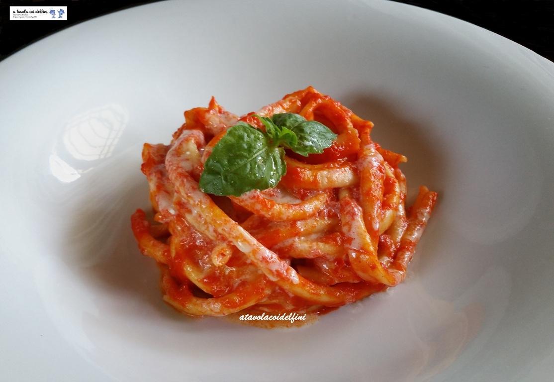 Fusilli di semola al ferretto al sugo di peperoni rossi e pomodori regina con salsa alla ricotta forte e parmigiano